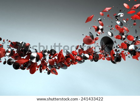 Abstract Chrome Elliptical Particles Background - stock photo
