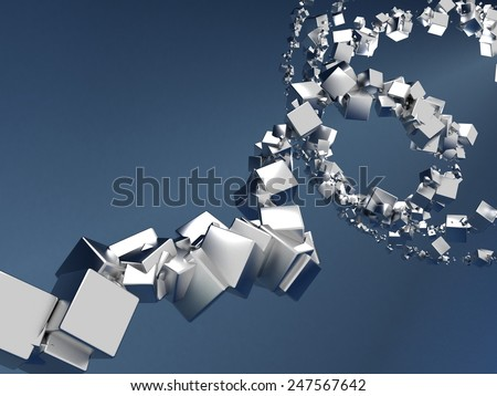 Abstract Chrome Particles On Blue Background - stock photo