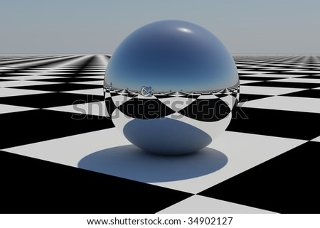 abstract chrome sphere on a chess board, abstract translucent globe, background with artistic geometry, chrome sphere on a blue sky, futuristic icon, chess board reflection - stock photo