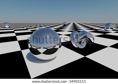 abstract chrome spheres on a chess board, abstract translucent globes, background with artistic geometry, chrome spheres on a blue sky, futuristic icon