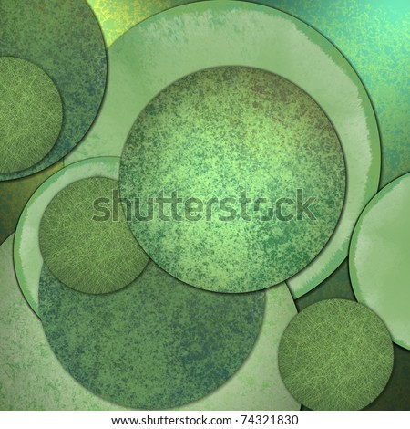 Abstract circle design background with green color, grunge texture, artistic layout and copy space room
