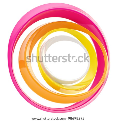 Abstract circle frame made of colorful glossy rings isolated on white - stock photo