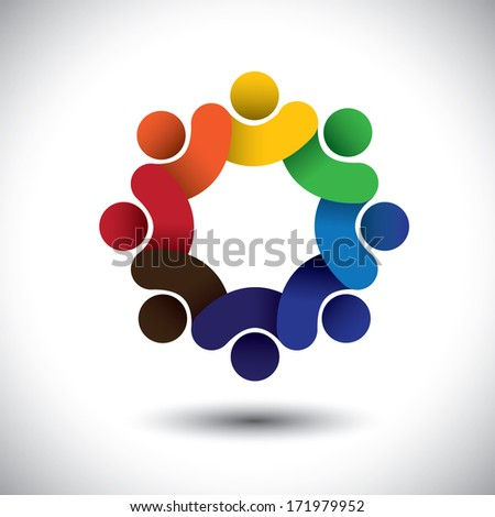 Abstract circle of people icons - diversity in employment concept. This graphic also represents concept of employees or workers meeting, workers unity, executive staff union, children & kids - stock photo