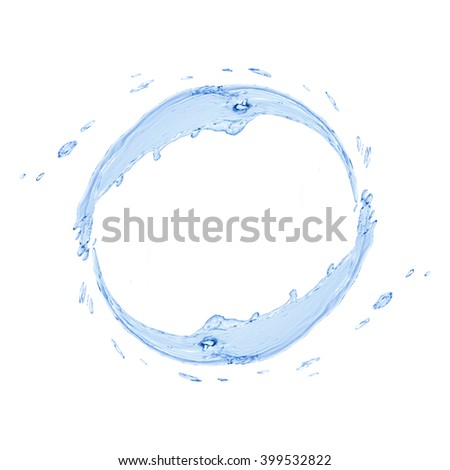 Abstract circle shape made from water splash isolated on white background
