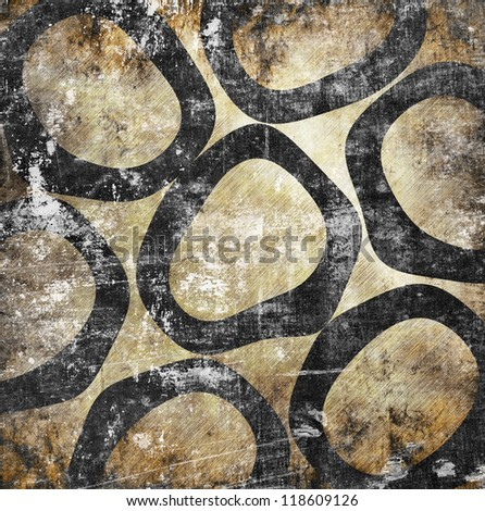 Abstract circles on grunge background with scratches - stock photo