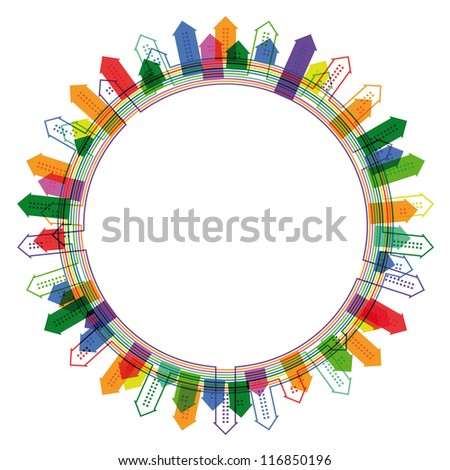 Abstract circular frame with bright city silhouette. Raster version of the vector image - stock photo
