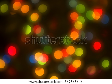 Abstract circular lights blurred holiday background of Christmas light