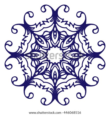 Abstract circular pattern or mandala. Graphic template for your design. Decorative retro ornament - flower. Hand drawn background in floral, indian and islamic style.
