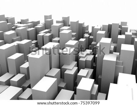 Abstract city cube construction