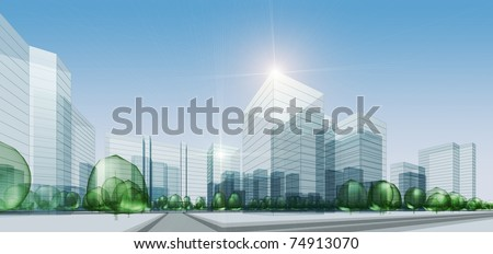 Abstract city. 3d render background - stock photo