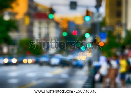 Abstract, city dreams, Street scene, Fifth Avenue, Pittsburgh, Pennsylvania, USA - stock photo
