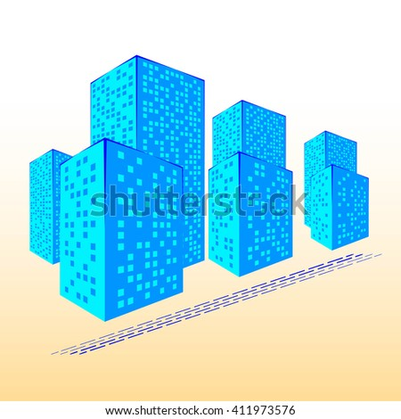 Abstract City. Graphical Blue Silhouette. 3d Illustration. Raster Illustration