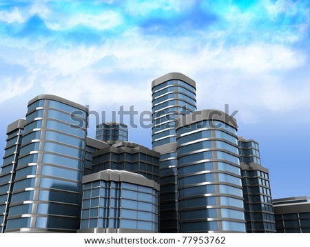 abstract city illustration - stock photo