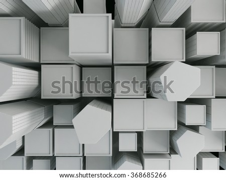 Abstract city in white background, 3D render - stock photo