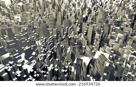 Abstract city made of cubes - stock photo