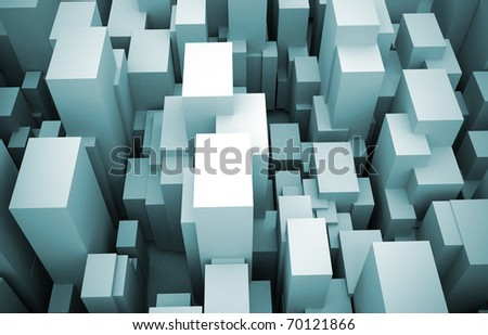 Abstract city made of cubes - looking down