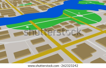 Abstract city map illustration 3d - stock photo