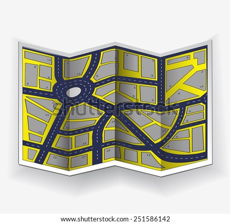 Abstract city map in perspective on white background - stock photo