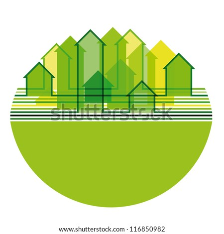 Abstract city silhouette inscribed into oval shape in green tones. Raster version of the vector image - stock photo