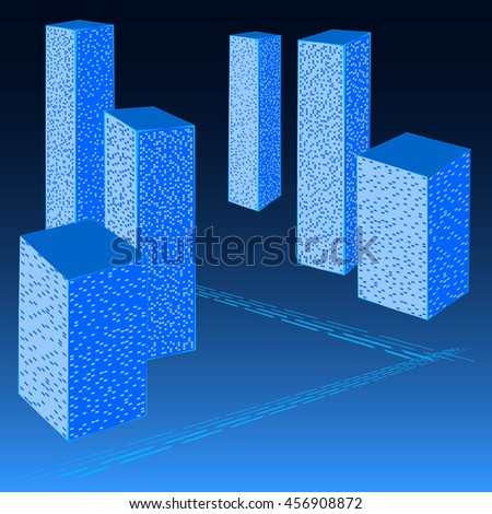 Abstract City Street. Graphical Blue Silhouette. Poster in a Flat Style. Raster. 3d Illustration - stock photo