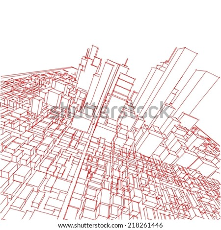 abstract cityscape sketch on white background