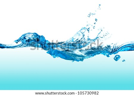 Abstract clear blue water splash with bubbles. - stock photo