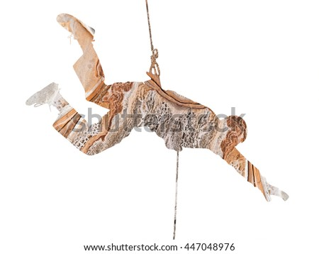 Abstract Climber Silhouette in horizontal position- double exposure effect - isolated on white background - stock photo