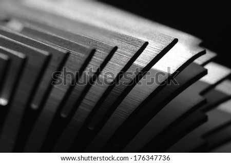 Abstract close up view of an heat sink fins.(Shallow DOF) - stock photo