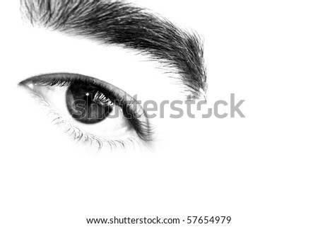 Abstract closeup of a mans eye and eyebrow in high contrast isolated over white.  Shallow depth of field.