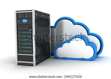 Abstract cloud storage (done in 3d) - stock photo