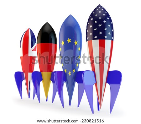 abstract coalition, rockets with flags of the European Union, the USA, Germany, England - stock photo