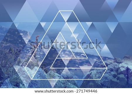abstract coast geometric background with triangles, seashore, seacoast, summer - stock photo