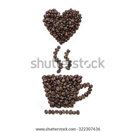 Abstract coffee beans, Cup shape of roasted coffee beans with float heart shape coffee beans on white background. - stock photo