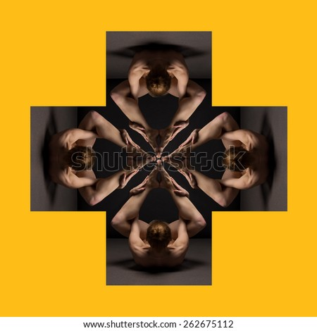 Abstract collage beautiful bodies of young women over dark cube - stock photo