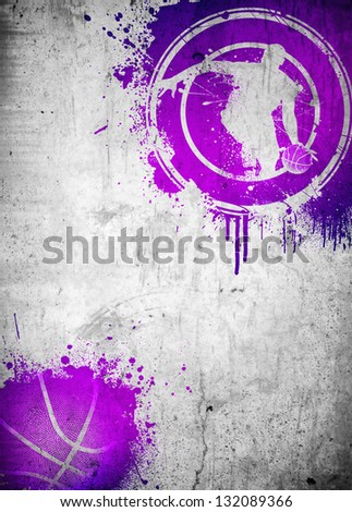 Abstract color basketball and streetball poster or flyer background with space - stock photo