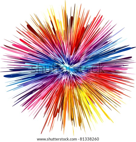 Abstract color explosion as symbol for creativity and spontaneity - stock photo