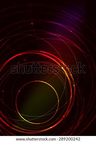 Abstract color glowing lines in dark space with stars and light effects. Futuristic background with copyspace for your message - stock photo
