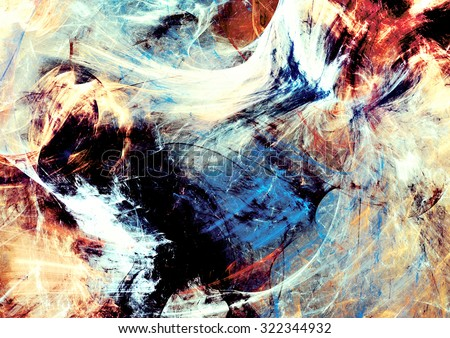 Abstract color smoke. Dynamic background with lighting effect. Futuristic bright painting texture for creative graphic design. Fantasy dynamic pattern. Fractal art - stock photo
