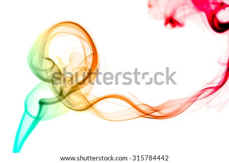 abstract color smoke flow on white background - stock photo