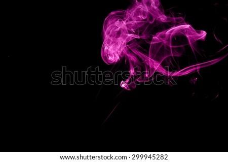 Abstract color smoke on black background, purple smoke background,purple ink background,Violet smoke, beautiful color smoke - stock photo
