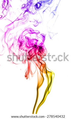 Abstract color smoke on white background.