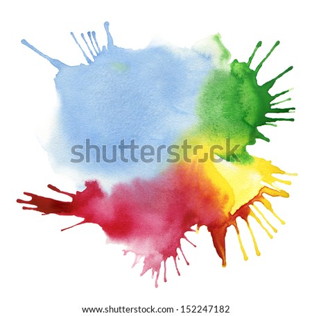 abstract color watercolor blot background - stock photo
