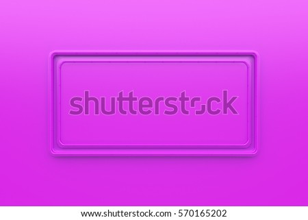 Abstract colored banner. Rectangular glossy colored plate with corners from tubes on colored background. 3D render illustration