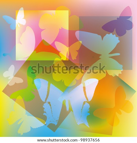 Abstract colored butterflies on a background of geometric shapes - stock photo