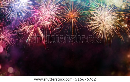 abstract colored firework background free spaceの写真素材