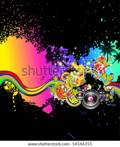 Abstract Colorful Background for Musical Event Flyer - stock photo