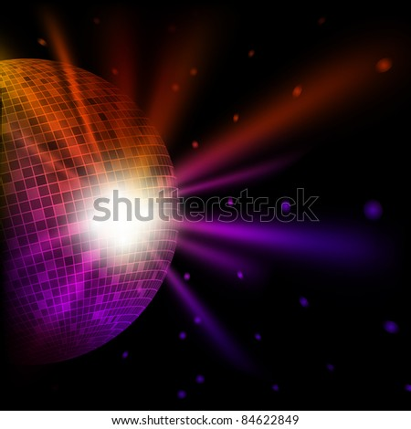 Abstract colorful background with disco ball - stock photo