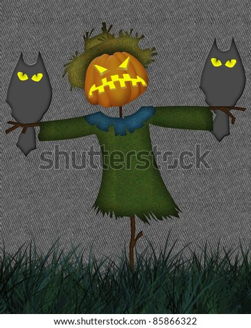 Abstract colorful background with  Halloween scarecrow. Halloween theme