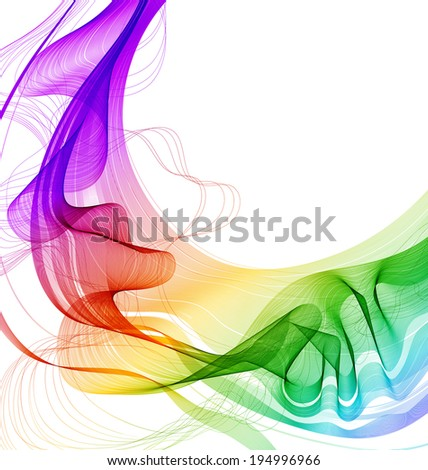 Abstract colorful background with wave, illustration - stock photo