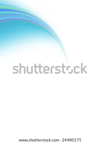 Abstract colorful blue swirl on white copy space background